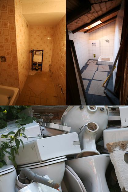 badkamer collage de Berghut Rauris Oostenrijk