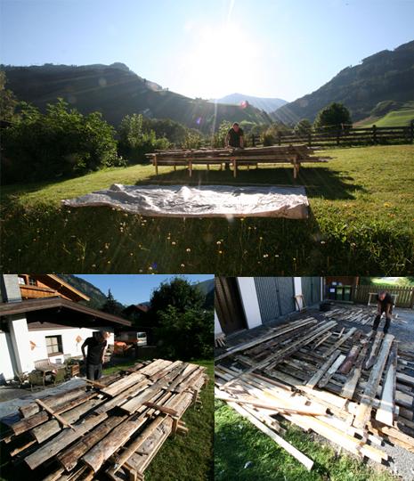 Matratzenlager hout check  collage de Berghut Rauris Oostenrijk bergwandelen