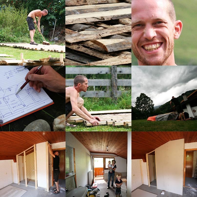 Matratzenlager voorbereidingen collage de Berghut Rauris Oostenrijk