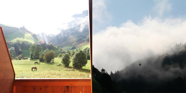 Matratzenlager uitzicht collage de Berghut Rauris Oostenrijk