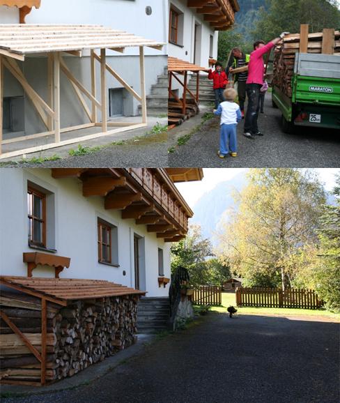 verbouwing houthokken de Berghut Rauris Oostenrijk hout hakken
