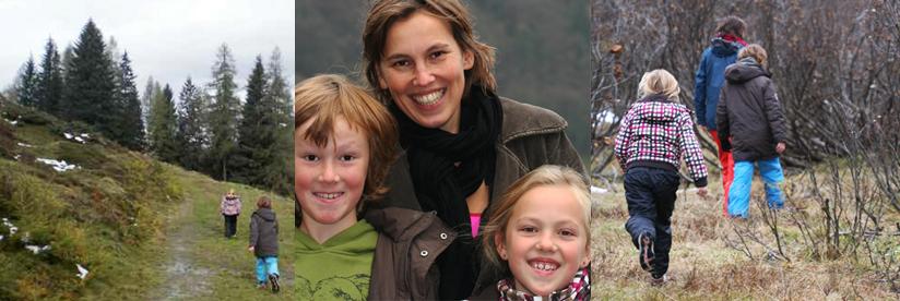 wandelen de Berghut Rauris Oostenrijk kinderen herfst