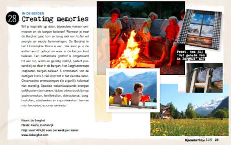de Berghut in de pers in de media in LIS als bijzonder plekje Oostenrijk