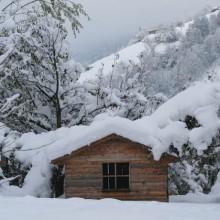 sneeuw op een kindvriendelijke vakantieadresjes met kinderopvang Jonge Gezinnenweek wintersport in de Berghut Rauris Oostenrijk