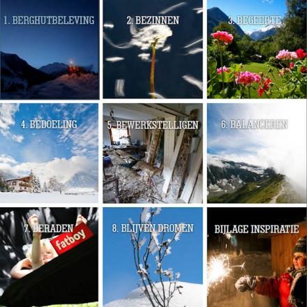 inhoudsopgave boek publiciteit berghutgasten netwerk inspiratie bergbeleving ontmoeten bergen vakantieadresje in hotel pension de Berghut Rauris Oostenrijk