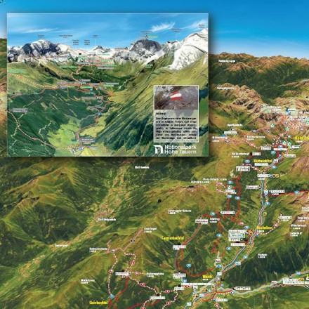 skikaart Rauris Salzburgerland Oostenrijk Zell am See dorp Hohe Tauern bergen vakantieadresje in hotel pension de Berghut Rauris Oostenrijk