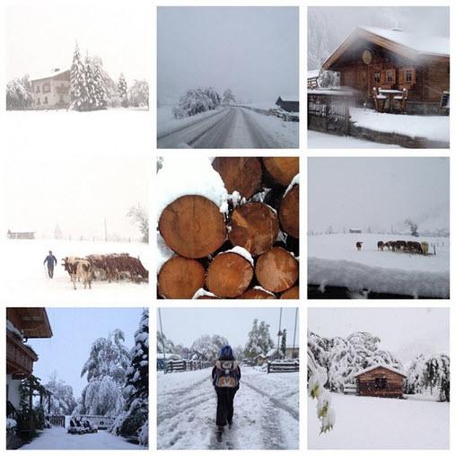 sneeuw in de Berghut Alpen Oostenrijk - 11 oktober 2013
