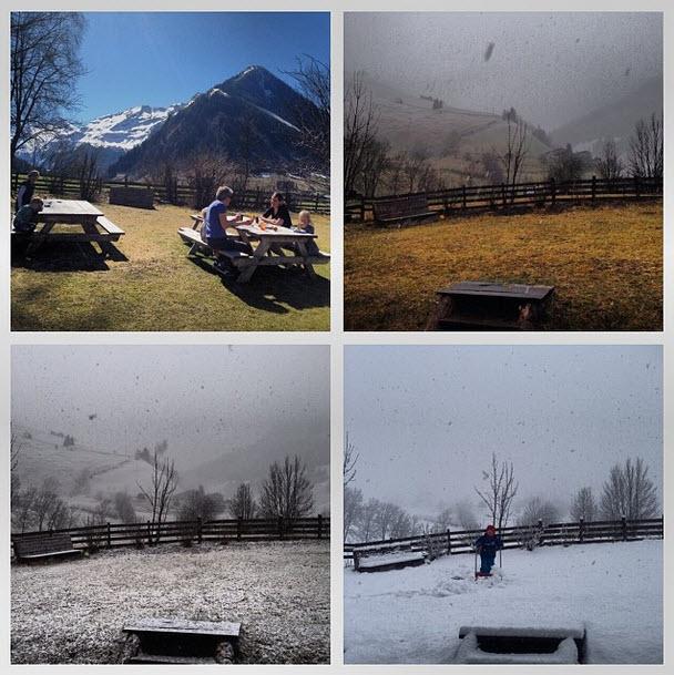 winter in maart in Oostenrijk sneeuw bij de Berghut.com Rauris zomer