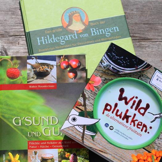 boeken over kruiden, wildplukken en eetbare bloemen en planten