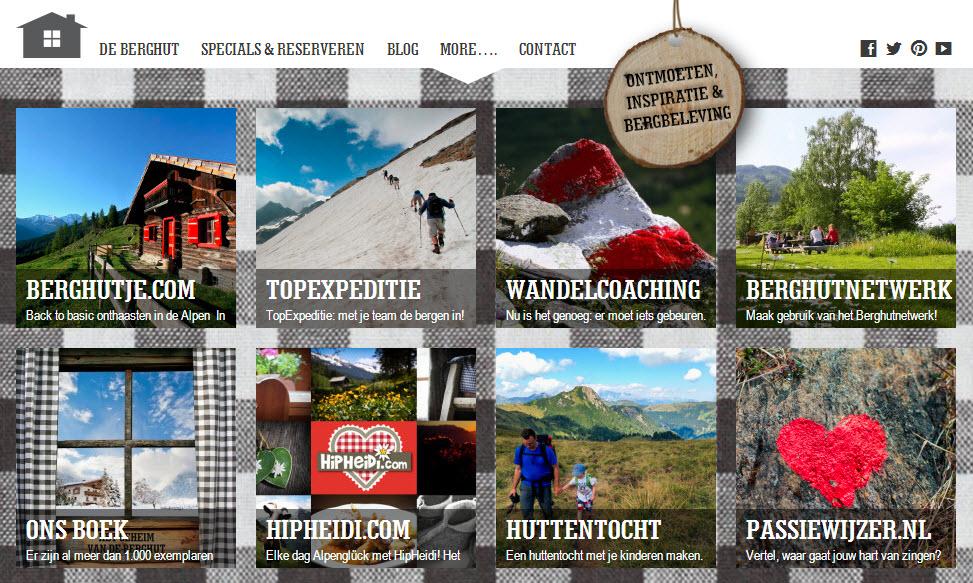 overzicht website aanbod deBerghut.com