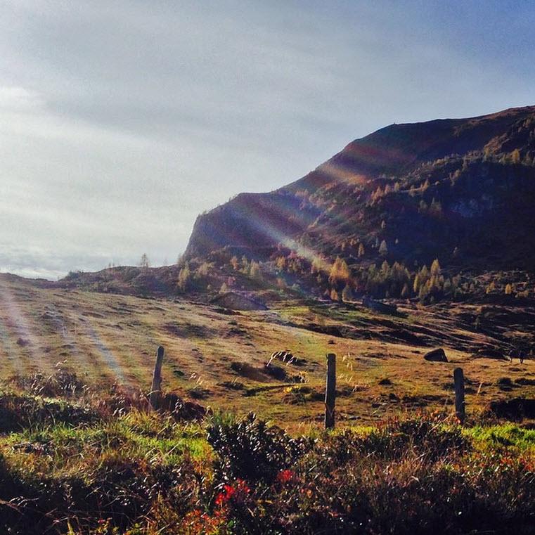 herfst in het Rauriserdal in de Alpen bij de Berghut Feldereralm