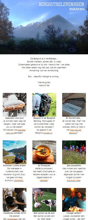 nieuwsbrief september 2014 BerghutBelevenissen de berghut.com