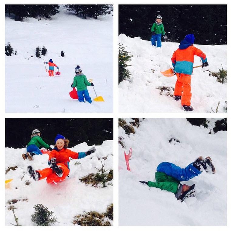 sneeuwpret aan het einde van het Rauriserdal Kolm Saigurn de Berghut