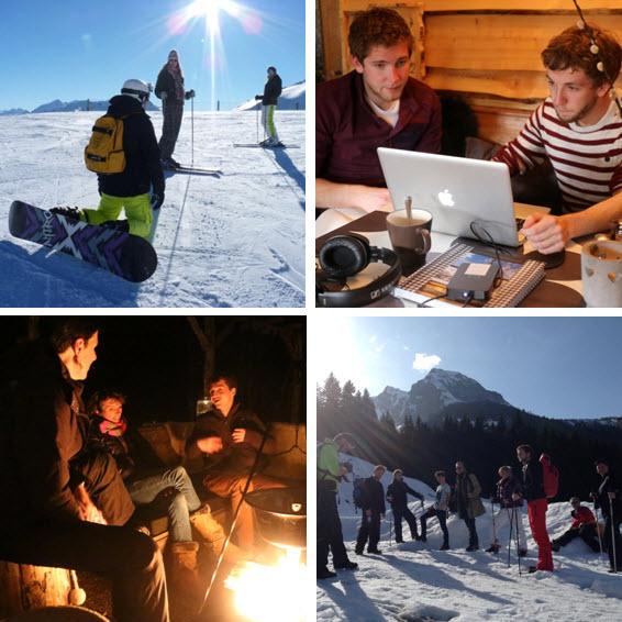 werkplek in de bergen alpen de Berghut sneeuwwerkplekweek 3
